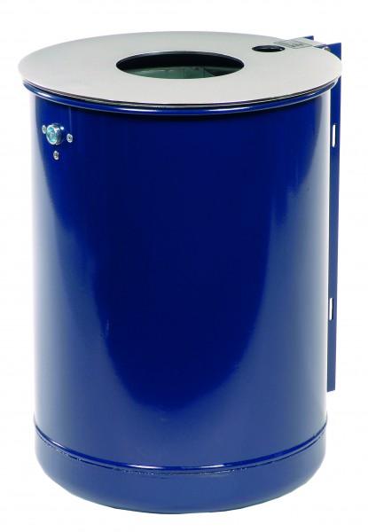 Rund-Abfallbehälter mit stabiler Edelstahl Deckelscheibe und Ascher