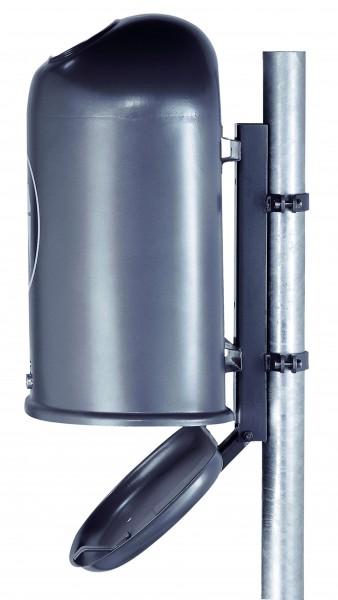 Ovaler Abfallbehälter mit Bodenentleerung und selbstschließender Federklappe im Einwurf